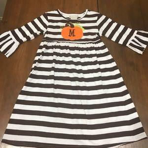 Girls Pumpkin Appliqué M dress